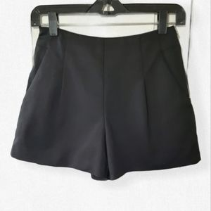 Bardot Revolve high waisted black pleated shorts
